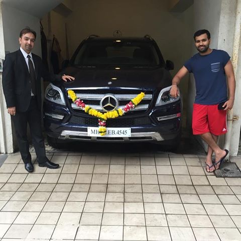 Rohit Sharma with his Mercedes
