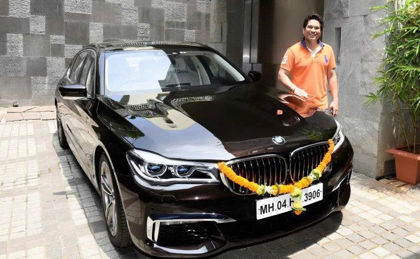 Sachin Tendulkar with his BMW