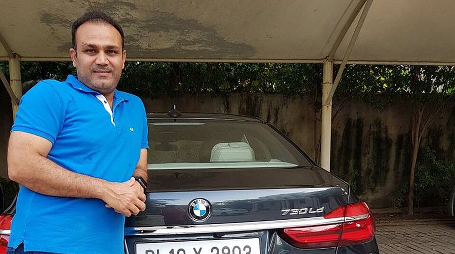 Virendra Sehwag with his BMW